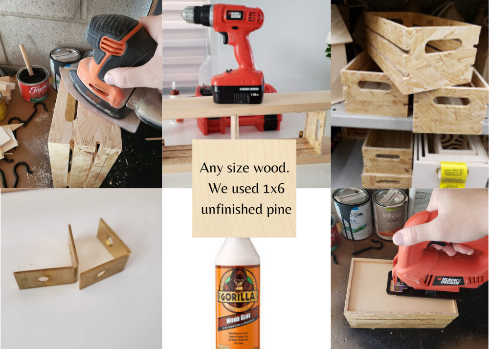 Any size wood. We used 1x8x8 unfinished pine.png